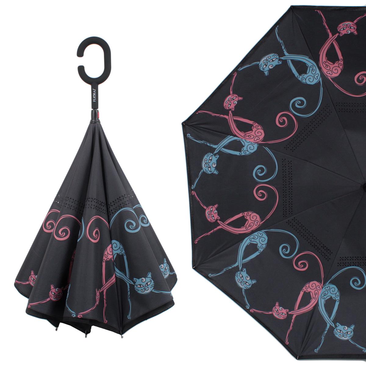 Зонт-трость механический Flioraj 120013 FJ черный