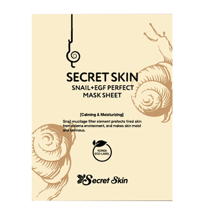 Маска для лица тканевая с экстрактом улитки SECRET SKIN SNAIL+EGF PERFECT MASK SHEET 20гр