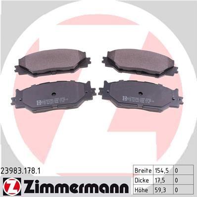 Комплект тормозных колодок, дисковый тормоз ZIMMERMANN 23983.178.1