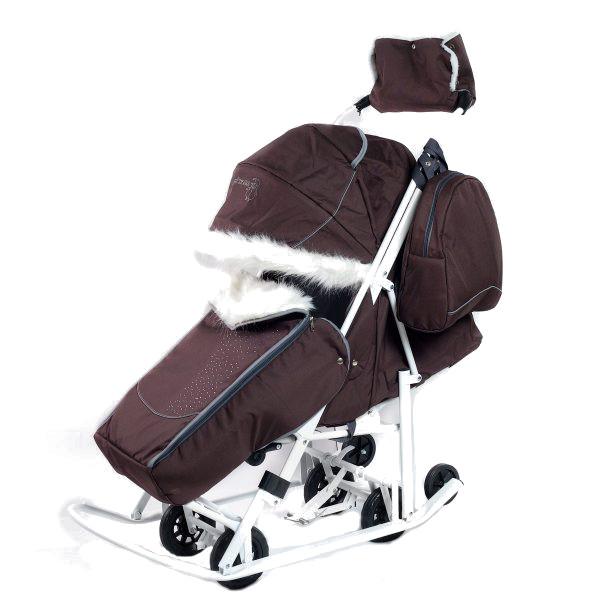 Купить Санки-коляска Pikate Снеговик Шоколад, Санки складные