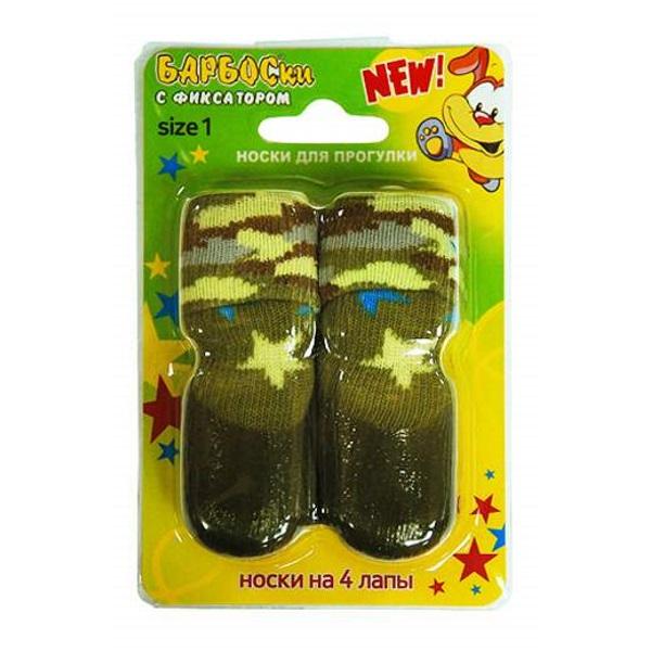 Носки для собак БАРБОСки размер S 4 шт зеленый.
