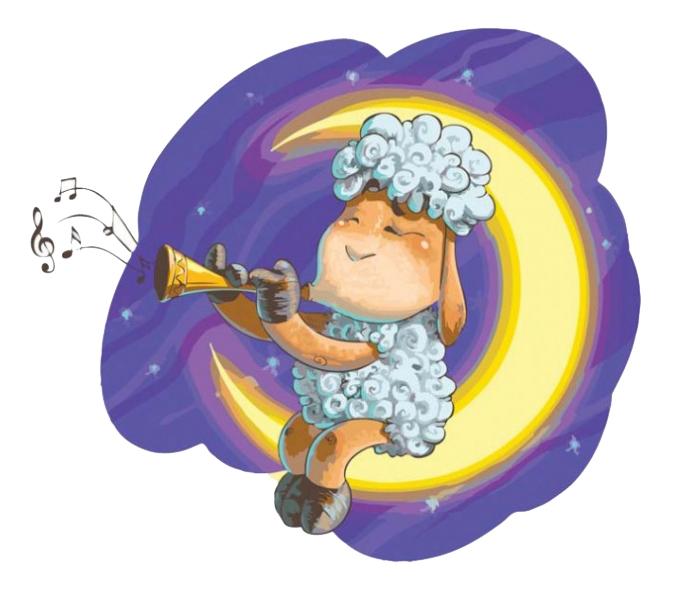 Раскраска по номерам Белоснежка Овечка на луне