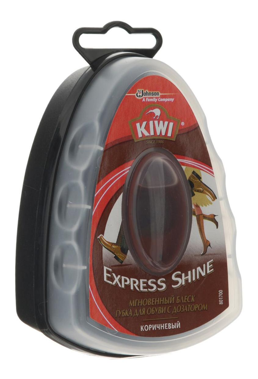 Губка для обуви Kiwi Экспресс с дозатором коричневыя