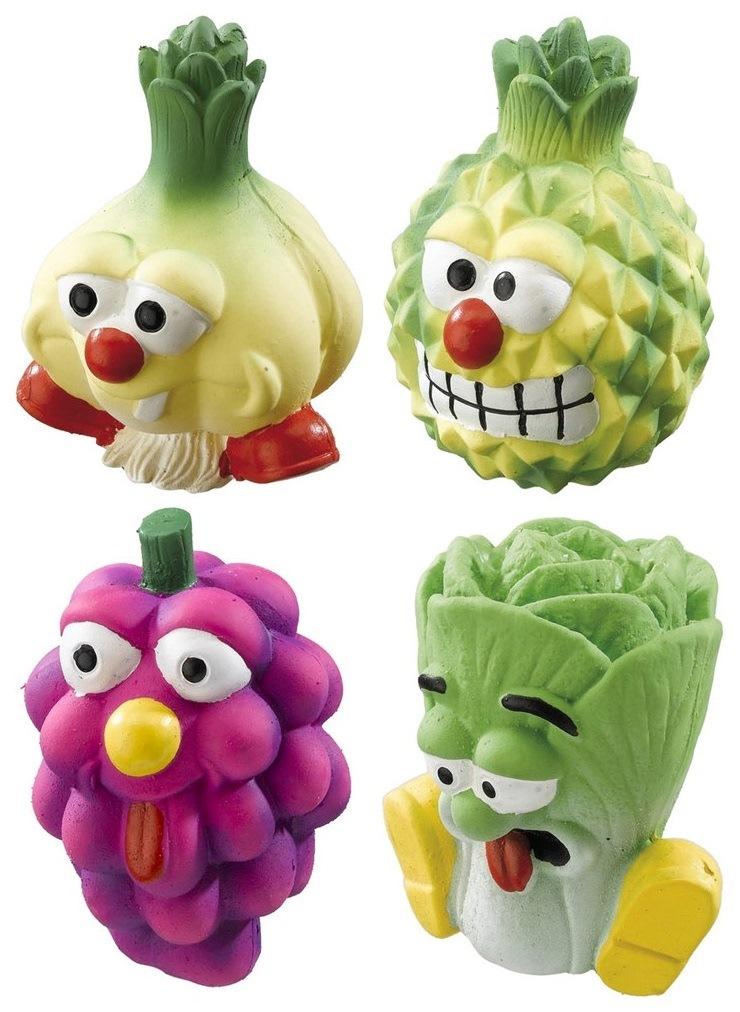 Жевательная игрушка для собак Ferplast Овощи-фрукты с пищалкой, длина 10 см фото