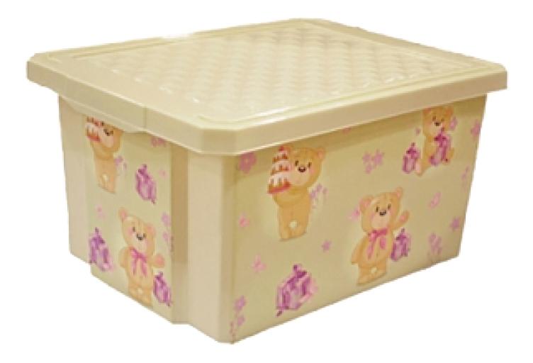Купить Ящик для хранения игрушек Plastic Republic X-BOX Bears 17 л слоновая кость, Ящики для хранения игрушек