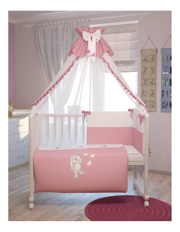 Комплект детского постельного белья Тополь Polini Зайки 7 предметов 120 х 60 розовый Polini Зайки 7 предметов, розовый 120x60