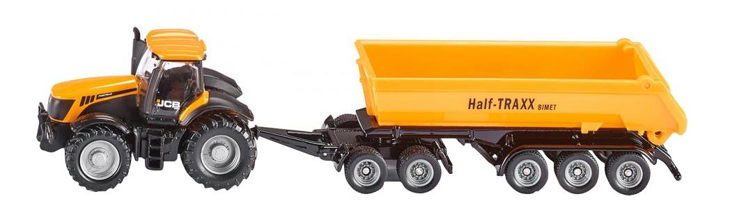 Трактор с прицепом-кузовом, Коллекционная модель Siku Трактор JCB с прицепом-кузовом желтый 1858, Коллекционные модели  - купить со скидкой