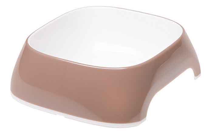 Одинарная миска для кошек и собак Ferplast, пластик, резина, белый, коричневый, 0.4 л фото