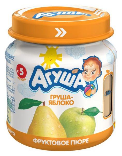 Купить Груша-яблоко 115 г, Пюре фруктовое Агуша Груша-яблоко с 5 мес 115 г, Детское пюре
