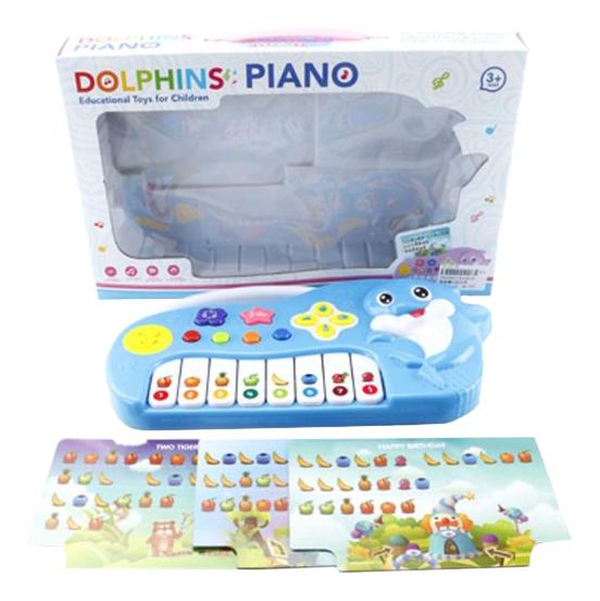 Купить Dolphins, Пианино игрушечное Shantou Gepai Дельфин с нотными карточками ZZ1401B, Детские музыкальные инструменты