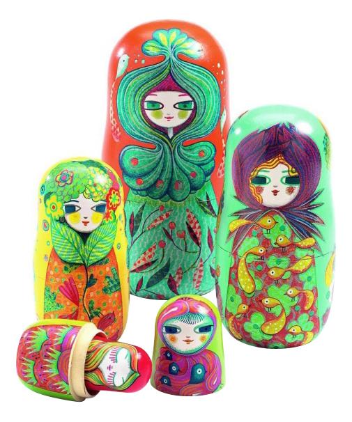 Купить Деревянная игрушка для малышей Djeco Матрешки, Развивающие игрушки