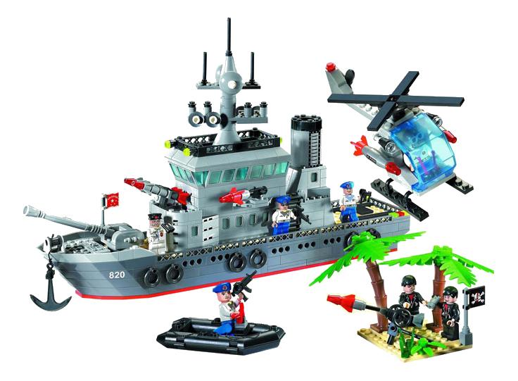 Конструктор пластиковый Brick Военный корабль и вертолет фото