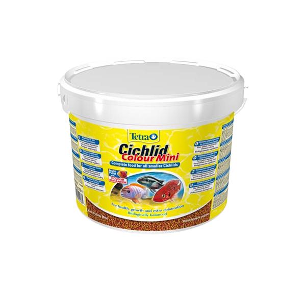 Корм для всех видов цихлид Tetra Cichlid Colour Mini, для улучшения окраса, гранулы, 10 л