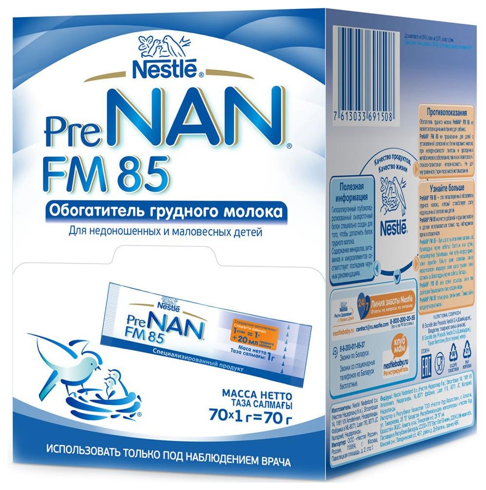 Купить Молочная смесь 1 (от 0 до 6 мес.) NAN Pre FM 85 70*1 г, Детские смеси 1 (с рождения)
