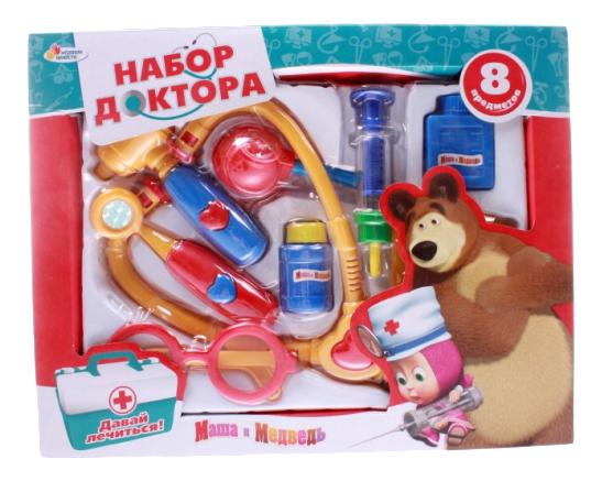 Купить Маша и Медвед 8 предметов, Набор доктора Маша и Медведь 8 предметов Играем Вместе MT1094INC-R, Играем в доктора