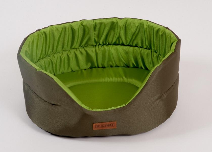 Лежанка для собак Katsu 56x60x23см коричневый, зеленый