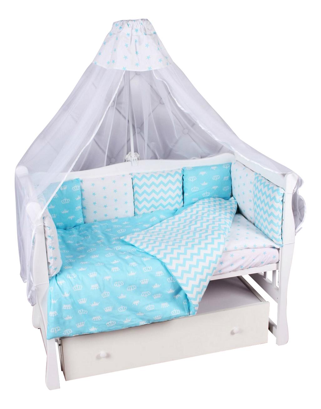 Комплект в кроватку Amarobaby Royal Baby 18 предметов бирюзовый
