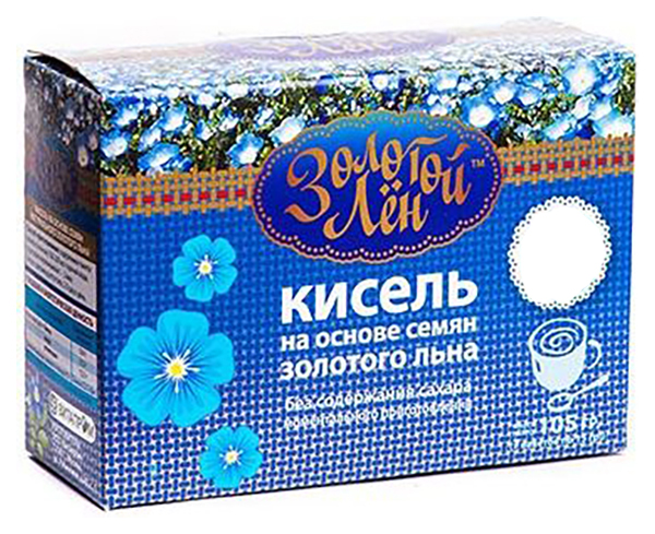 Кисель на льняной основе Золотой лен персик 7 пакетов по 15 г