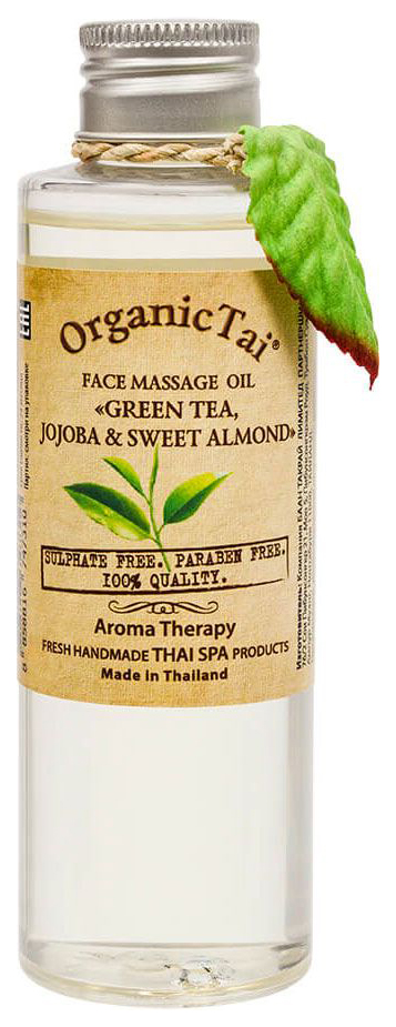 Массажное масло для лица OrganicTai Зеленый чай, жожоба и сладкий миндаль 120 мл