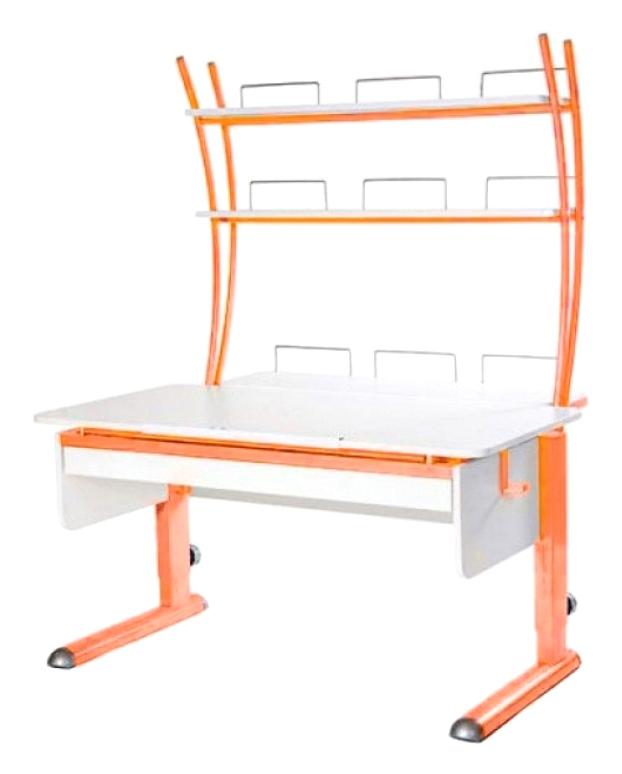 Парта Астек Моно 2 С надстройкой и выдвижным органайзером Белый Оранжевый