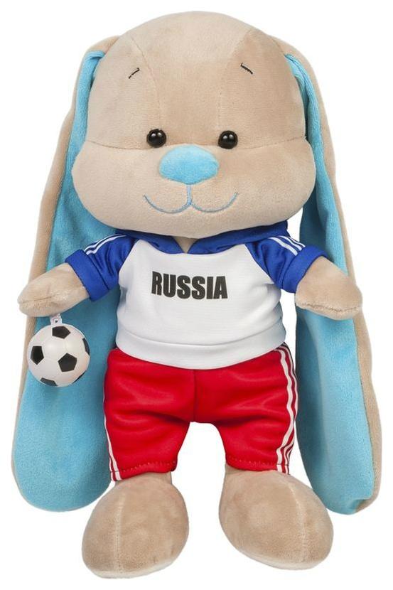 Купить Мягкая игрушка Jack&Lin Зайчик Жак Футболист с Мячом 25 см, Мягкие игрушки животные