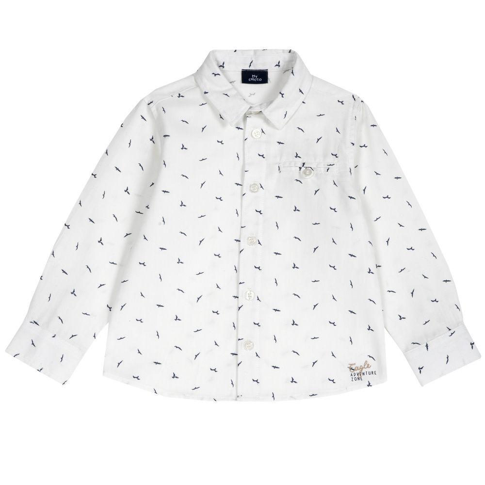 Купить 9054442, Рубашка Chicco р.110 принт птицы цвет светло-бежевый,