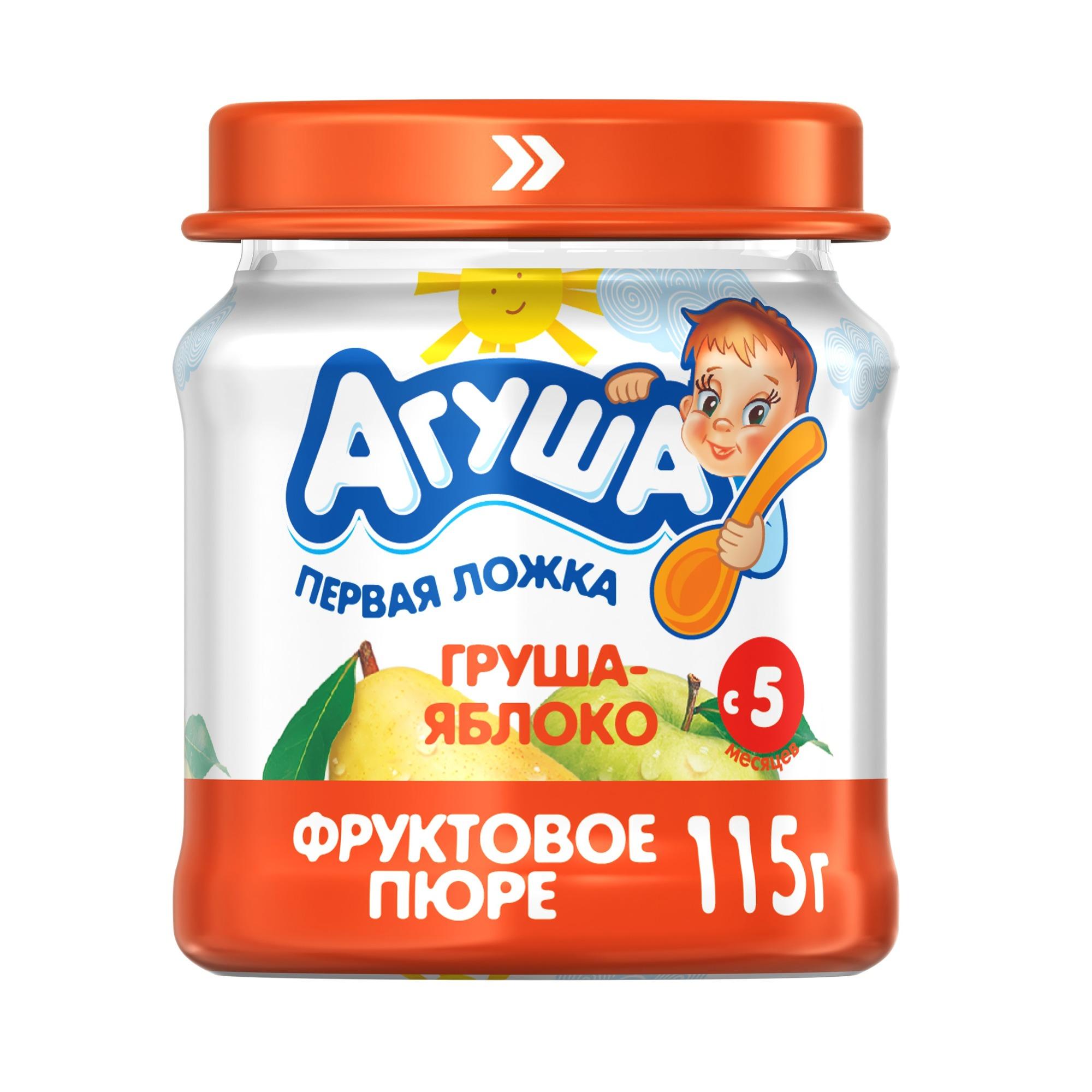 Купить Пюре фруктовое Агуша Груша-яблоко с 5 мес. 115 г, Фруктовое пюре