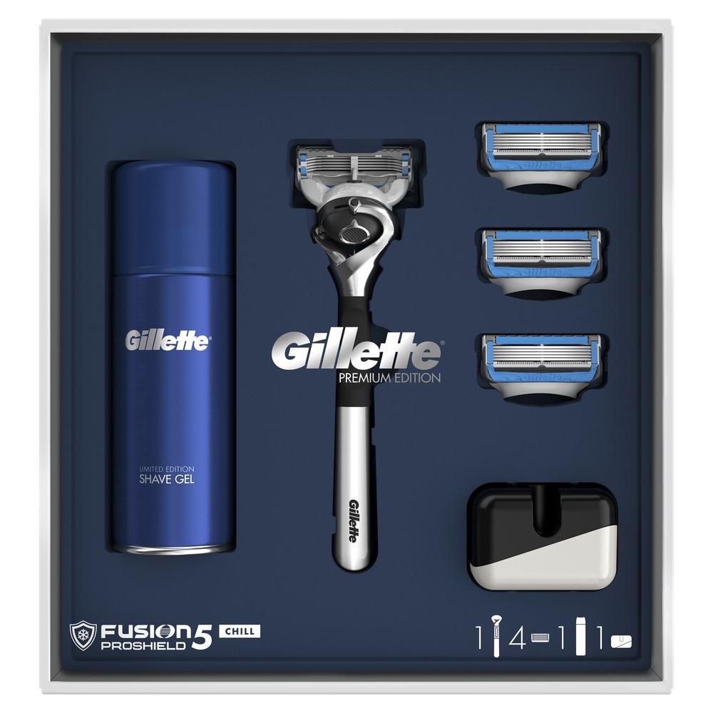 Подарочный набор Gillette Бритва Fusion5 ProShield Chill+2кассеты+подставка