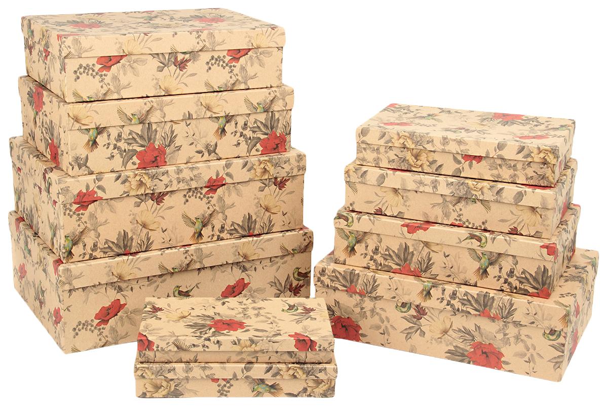 Набор подарочных картонных коробок Полет колибри, 10 шт. от 23x13х3 см до 36,5x26,5x12 см