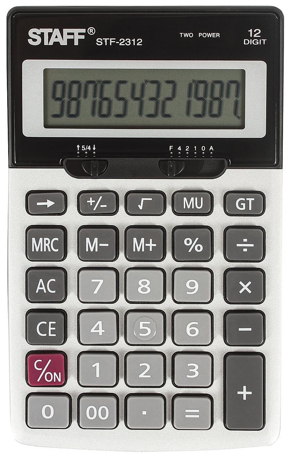 Калькулятор Staff настольный металлический STF-2312, 12 разрядов, двойное питание, 175х...