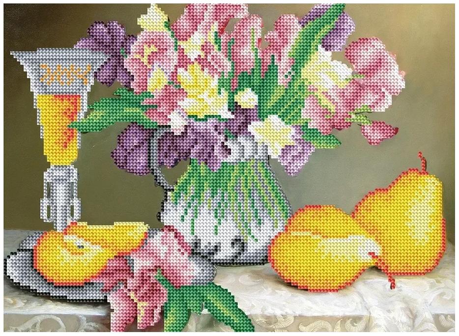 Купить Алмазная мозаика Рыжий кот букет и груши 30х40 см ASG008, Мозаики