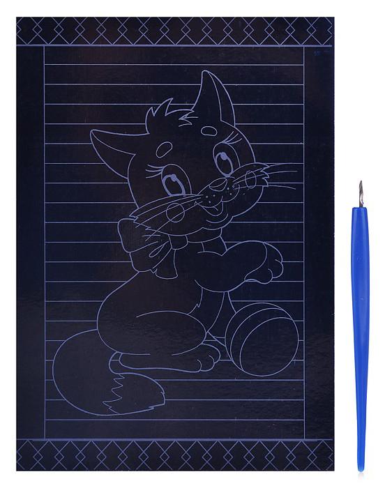 Гравюра Рыжий кот А5 с цветным основанием Котенок