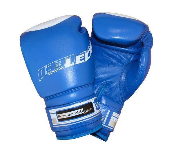 Боксерские перчатки Leco Премиум Про синие 8 унций