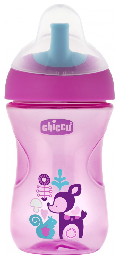 Купить Чашка-поильник Chicco Advanced Cup с трубочкой, 266 мл, Розовый с олененком, Поильники