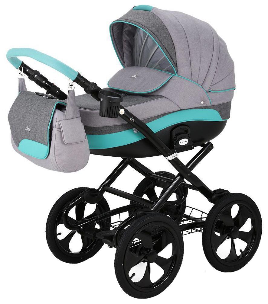 Купить Коляска 2 в 1 Adamex SOFIA HC black, (т, серый+серый+мятный), Детские коляски 2 в 1