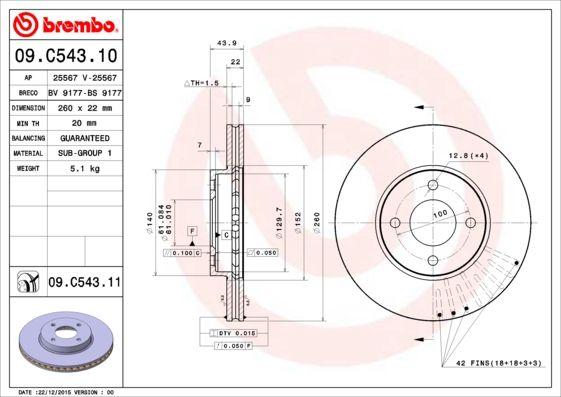 Тормозной диск brembo 09.C543.11 фото