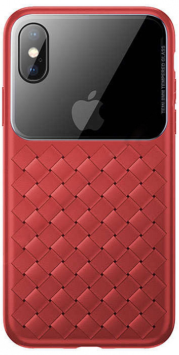 Чехол Baseus Glass #and# Weaving (WIAPIPH58-BL09) для iPhone X/Xs (Red)