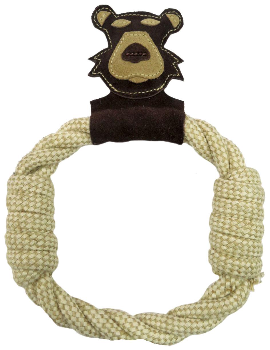 Жевательная игрушка для собак Ankur Медведь-кольцо из буйволиной кожи, 27 см