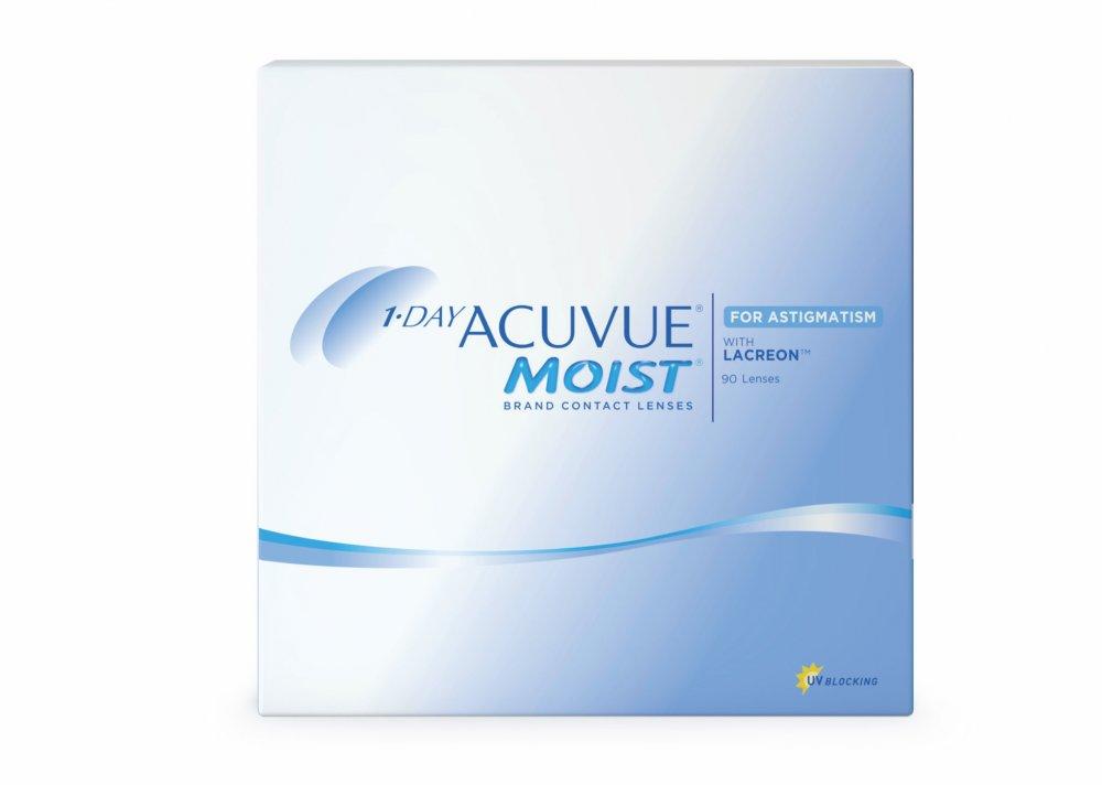 Контактные линзы 1-Day Acuvue Moist for Astigmatism 90 линз -3, 00/-2, 25/180  - купить со скидкой
