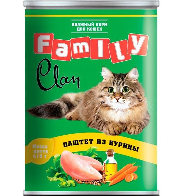 Консервы для кошек Clan Family, курица, 415г