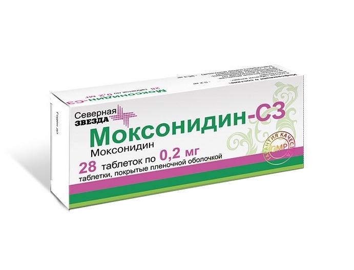 Купить Моксонидин таблетки, покрытые пленочной оболочкой 0, 2 мг 28 шт., Северная Звезда