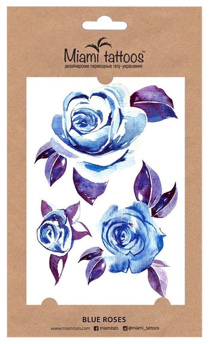 Купить Переводные тату Miami Tattoos Blue Roses 1 шт