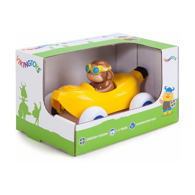 Купить Viking toys Машинка-банан 14 см, с Мартышкой, в подарочной упаковке, арт. 81363, Игрушечные машинки