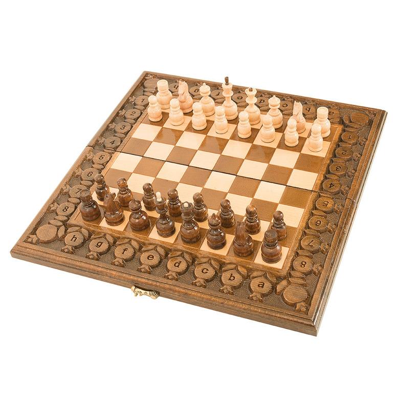 Купить Шахматы и нарды резные Haleyan, с гранатами 40,