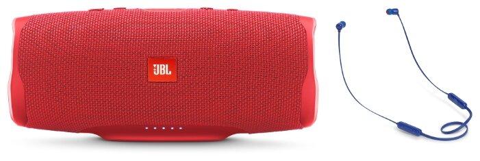Беспроводная акустика JBL Charge 4 Red + Наушники JBL T110BT Blue фото