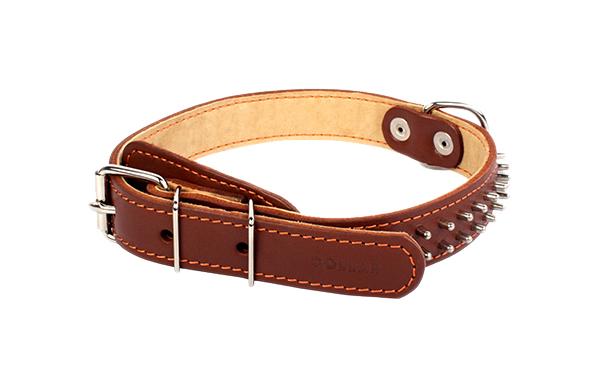 Ошейник для собак Collar, кожаный, двойной с шипами, коричневый, 48-63 см x 35 мм