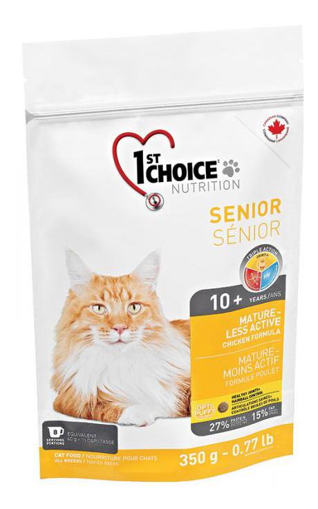 Сухой корм для кошек 1st choice Senior Mature or Less Active, цыпленок, 0,35кг фото
