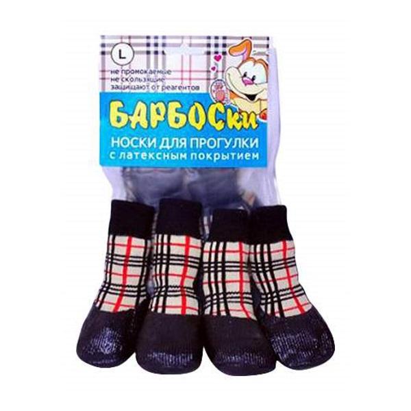 Носки для собак БАРБОСки размер L 4 шт красный бежевый черный.