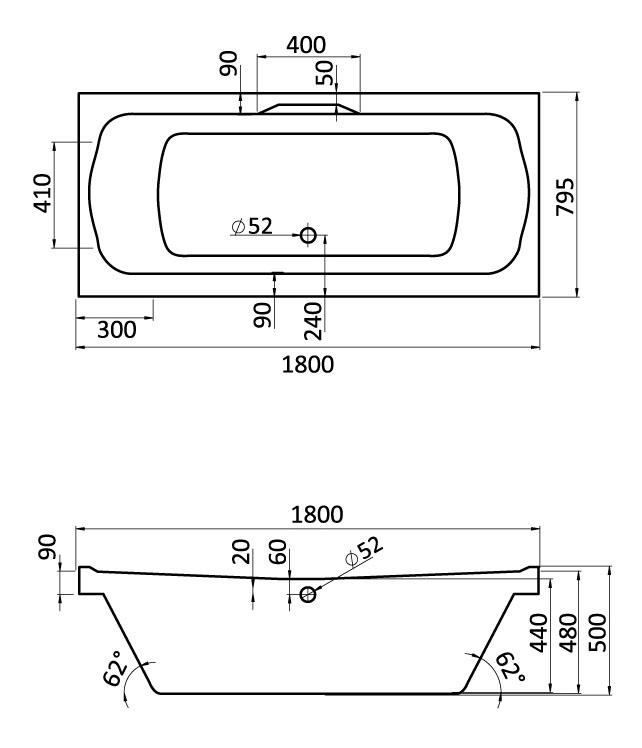 Комплект монтажный Santek для ванны Корсика 180х80см белый (WH112420)