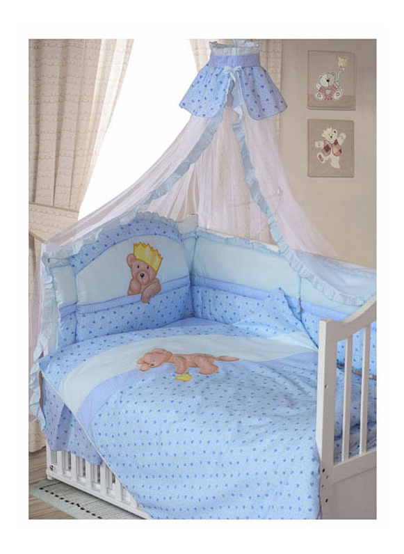 Комплект в кроватку Золотой гусь Мишка-Царь 8 предметов голубой Золотой Гусь фото